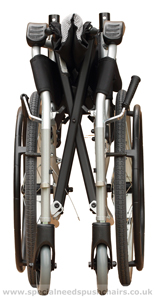 Ergo Lighweight Wheelchair folded with Footrests Off - click for larger image